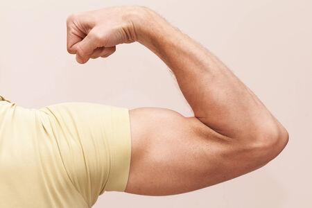 male arm: Brazo masculino fuerte muestra b�ceps. Primer foto