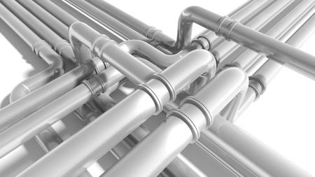 engeneering: Modern industrial metal pipeline fragment. 3d render