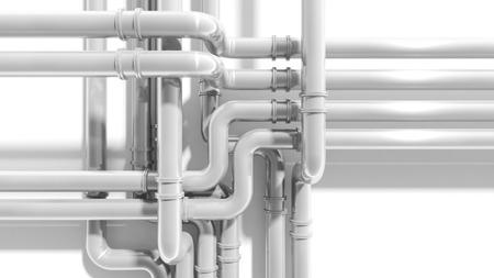 engeneering: Modern industrial metal pipeline intersection. 3d render