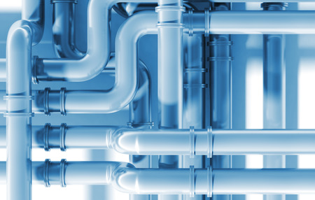 engeneering: Modern blue industrial metal pipeline intersection. 3d render illustration Stock Photo
