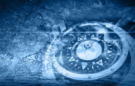 Blau Schiffe Navigation Illustration mit Kompass, Leuchtturm und alten Karten