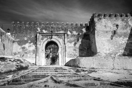 Fortress in Medina, black and white photo. Tangier, Morocco photo