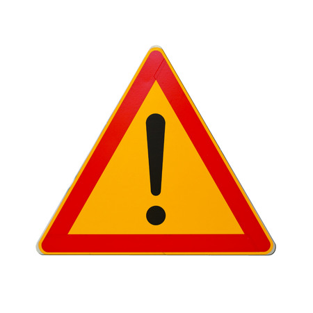 warning signs: Warning road sign with exclamation mark isolated on white