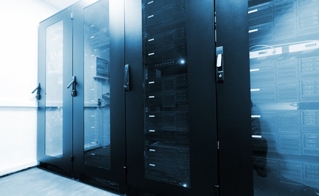 infrastructure: Modern server room interior with black computer cabinets