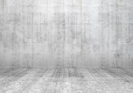 コンクリートの壁や床と空の部屋の抽象的な白いインテリア 写真素材
