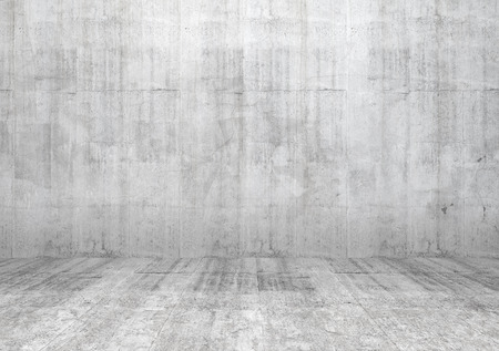 Abstract white interior of empty room with concrete wall and floor