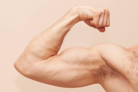 male arm: Brazo masculino fuerte con b�ceps. Cierre de la foto