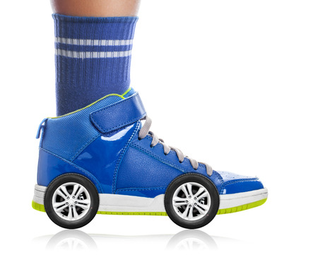roller skating: Blue Sport shoe with wheels isolated on white, speed concept