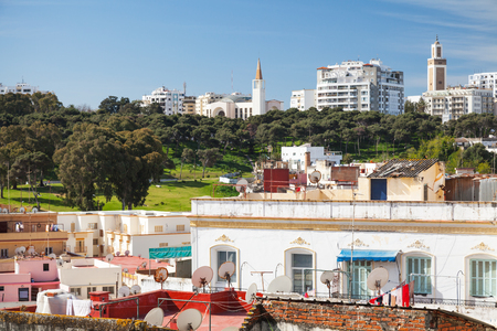 marocco: Ordinary living houses and mosques. Cityscape of Tangier, Morocco Stock Photo
