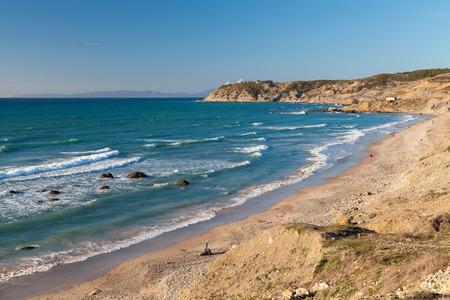 Atlantic Ocean coastal landscape, Gibraltar strait, Tangier, Morocco photo