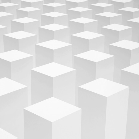 spacing: Abstract 3d background with array of identical white boxes