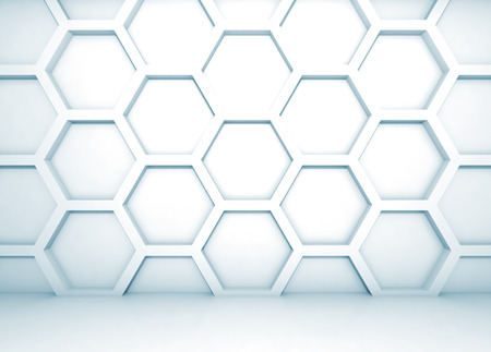 Blue abstract 3d interior with honeycomb pattern on the wall Stock Photo