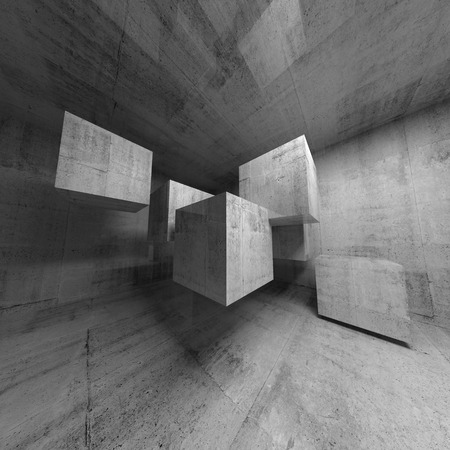 Abstract concrete 3d interior with flying cubes photo