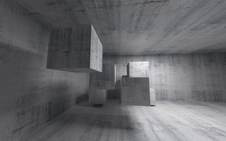 Abstract concrete 3d interior with flying cubes  Wide angle photo