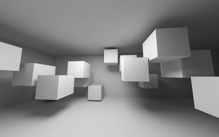 Abstract white interior with flying cubes  3d render photo