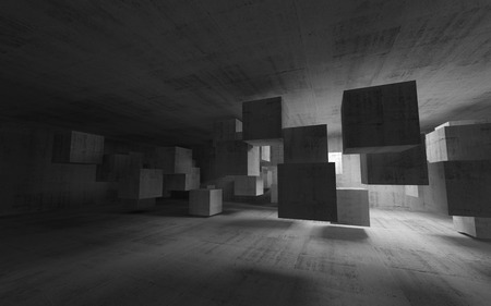 celling: Abstract concrete interior with flying cubes  3d render