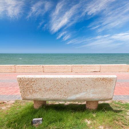 persian gulf: Stone bench on the coast of Persian Gulf, Saudi Arabia