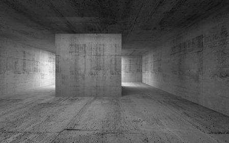 Leerer Raum, dunklen abstrakten Beton Innenraum. 3d render