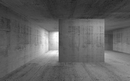 Abstrakt leere dunkle Beton Innenraum. 3d render