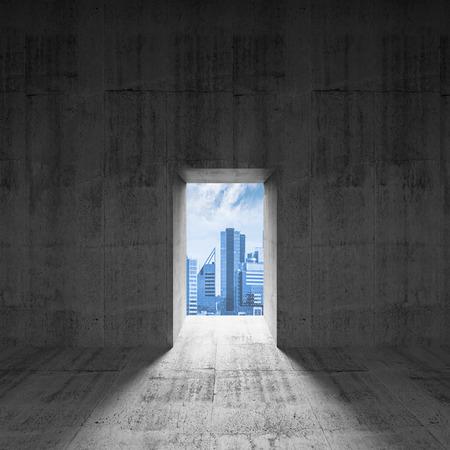 open the door: Abstract dark concrete interior with glowing door and city view