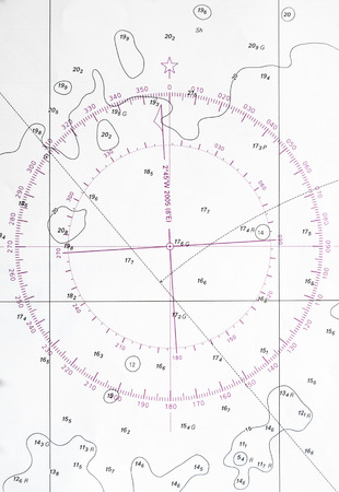 deviation: Navigation chart fragment with compass deviation symbol Stock Photo