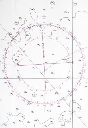 Navigazione frammento di carta con il simbolo di deviazione bussola