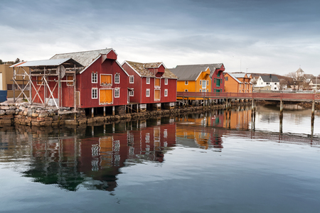 Red and yellow wooden houses in Norwegian village