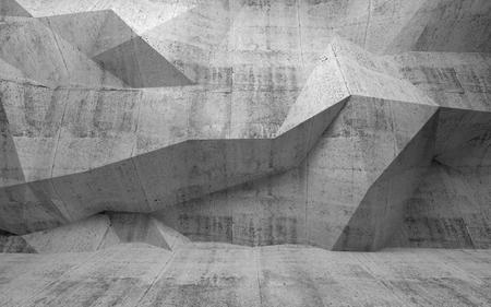 Abstracte donkere betonnen 3d interieur met veelhoekige patroon op de muur