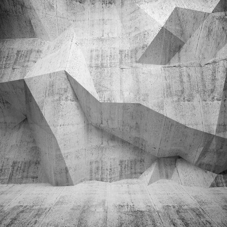 Abstract concrete 3d interior with polygonal pattern on the wall Stock Photo