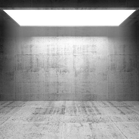 Abstract concrete 3d interior with bright light portal  photo