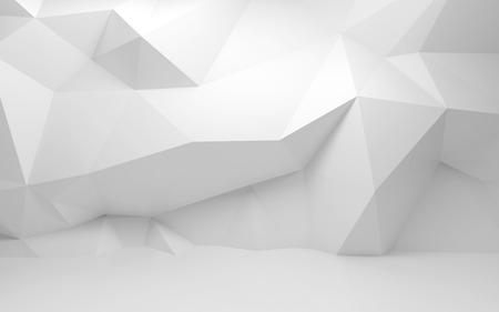 interior wallpaper: Abstract white 3d interior with polygonal pattern on the wall