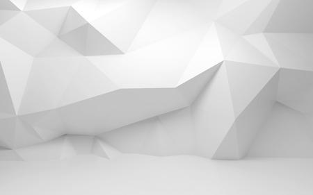 abstrakt: Abstrakt vit 3d interiör med polygonal mönster på väggen