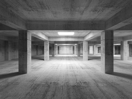 Empty dark abstract industrial concrete interior  3d illustration Stock Photo