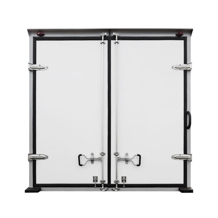 back gate: Back doors of new white cargo truck isolated on white Stock Photo
