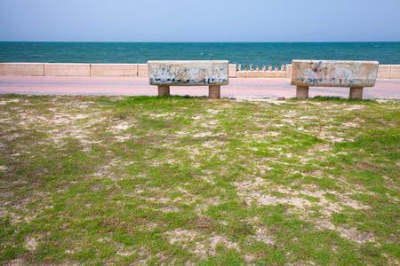 persian gulf: Stone benches on the coast of Persian Gulf in Saudi Arabia