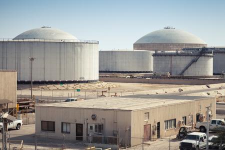 nafta: Group of big fuel tanks. Ras Tanura oil terminal, Saudi Arabia Stock Photo