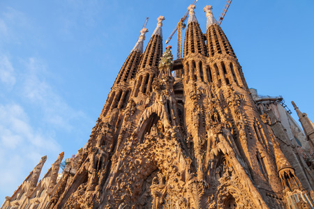 BARCELONA, SPAIN - AUGUST 26, 2014: La Sagrada Familia, the cathedral designed by Antoni Gaudi, which is being build since 19 March 1882 and still is under construction