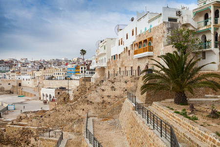 marocco: Ancient walls and living houses in Medina. Tangier, Morocco Stock Photo