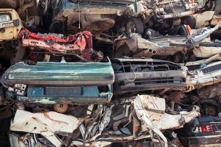 salvage yards: Abstract background with dump of stacked cars in junkyard