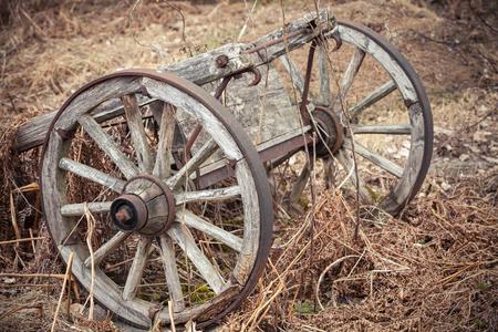 carreta madera: Antiguo carro de madera rural en hierba seca Foto de archivo