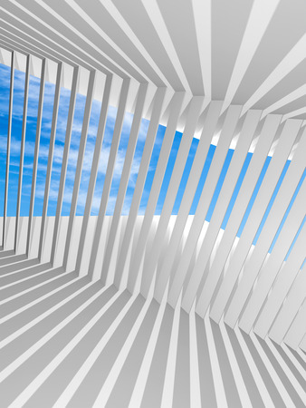 architecture: Abstract white vertical 3d interior background with shadows pattern