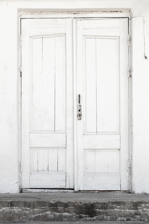 White Wall And Wooden Door Background Texture Photo