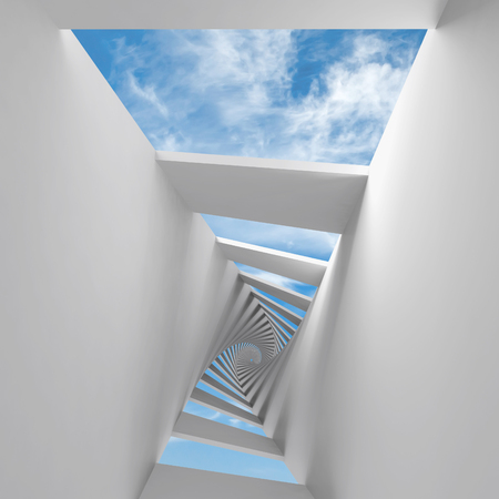 Abstract 3d background with twisted spiral corridor and sky photo