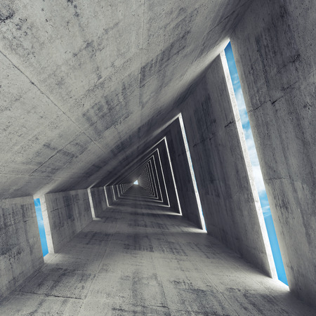 Abstract empty gray concrete interior, 3d render of tunnel Stock Photo
