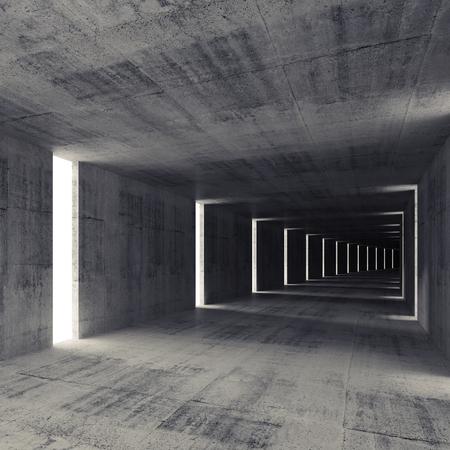 Abstract dark empty concrete tunnel interior, 3d background photo