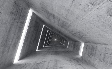 hormigon: Interior de hormigón vacío abstracto, 3d del túnel campal