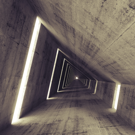 空の暗いコンクリートのインテリア、3 d を抽象的なトンネルのレンダリング