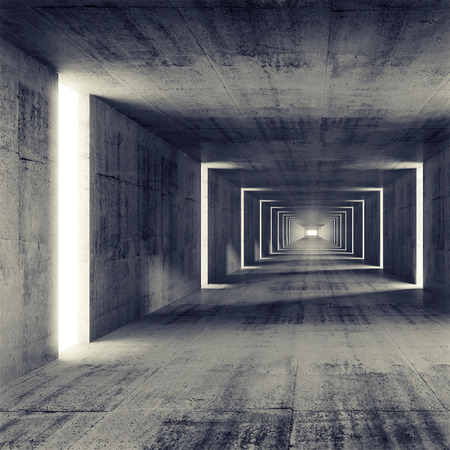 Abstract empty dark concrete tunnel interior, 3d background
