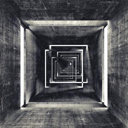 Streszczenie kwadratowych ciemne wnętrze tunelu betonu, 3d tle