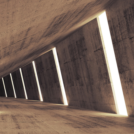 architecture: Abstract concrete 3d interior perspective with light stripes